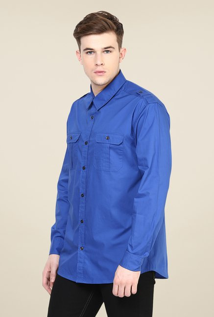 Yepme Blue Dominique Premium Cargo Shirt
