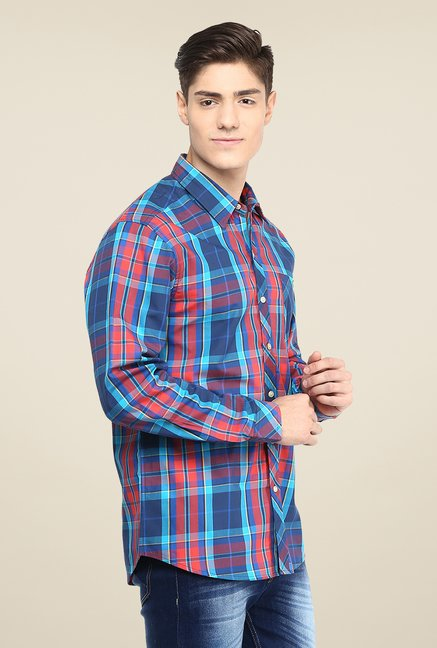 Yepme Blue & Orange Premium Checks Shirt