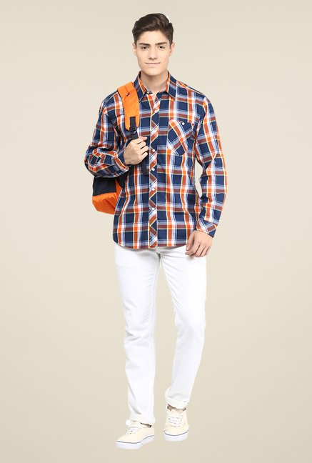 Yepme Navy & Orange Premium Checks Shirt