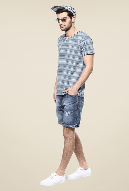Yepme Blue Trevor Striped T Shirt