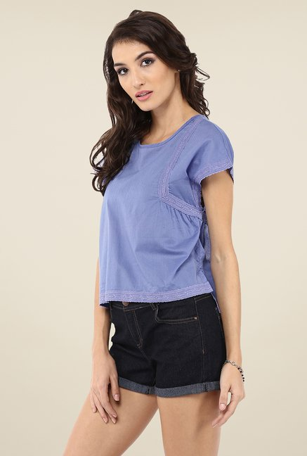 Yepme Anabelle Blue Crop Top