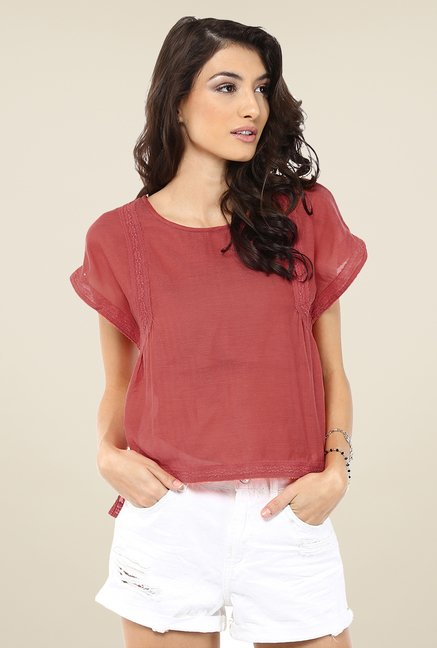 Yepme Anabelle Orange Crop Top