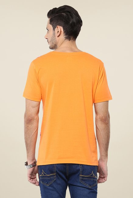 Yepme Orange Camo Printed T Shirt