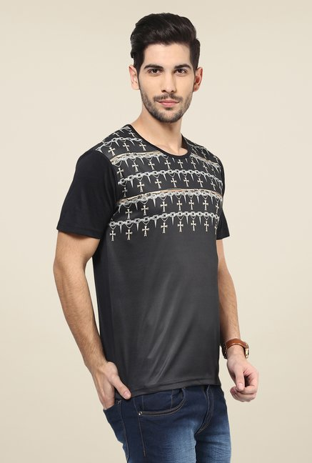 Yepme Black Spikes & Cross Digital Printed T Shirt