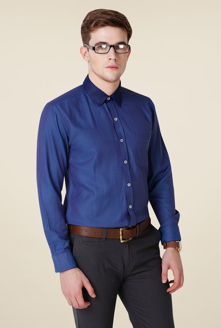 Yepme Blue Printed Hanfred Premium Shirt