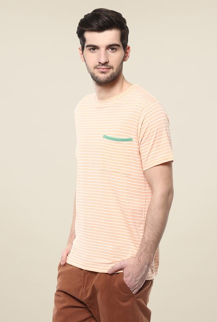 Yepme Orange Dorris Striped T Shirt