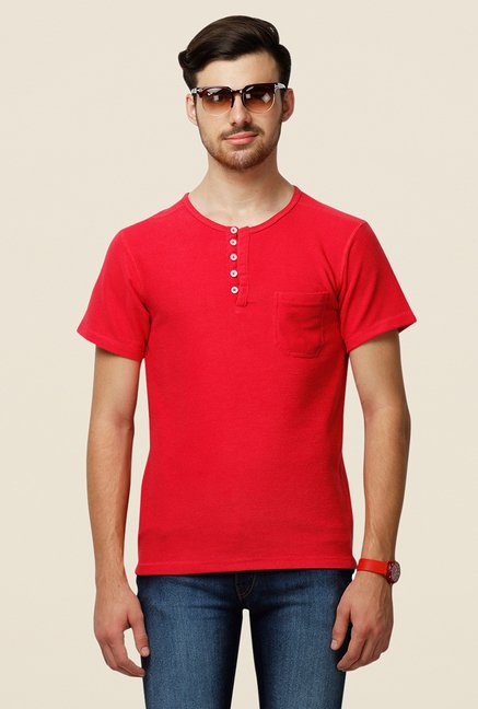 Yepme Red Ansell Premium Solid Henley T Shirt