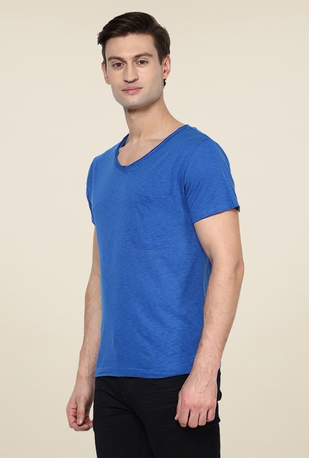 Yepme Blue Solid T Shirt