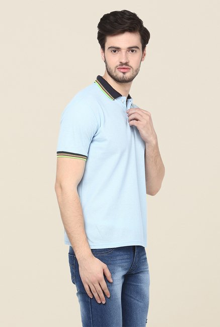 Yepme Blue Premium Solid Polo T Shirt
