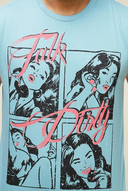 Yepme Blue Talk Dirty Graphic T Shirt