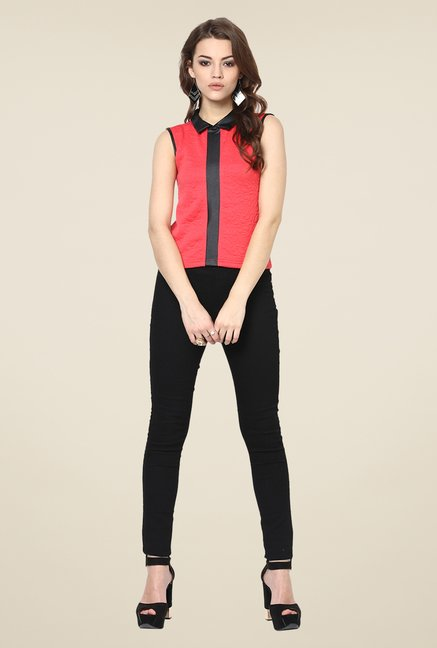Yepme Scarlett Coral & Black Party Top