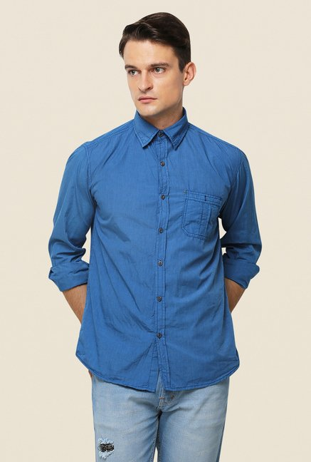 Yepme Blue Texon Premium Cotton Shirt