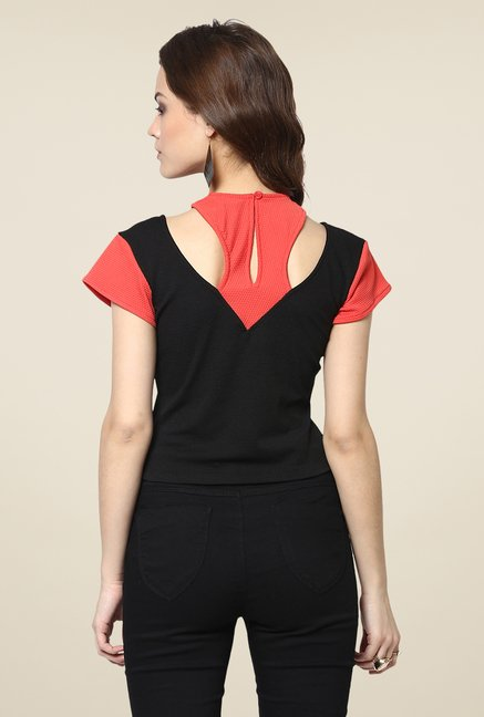 Yepme Gemma Black & Orange Party Top