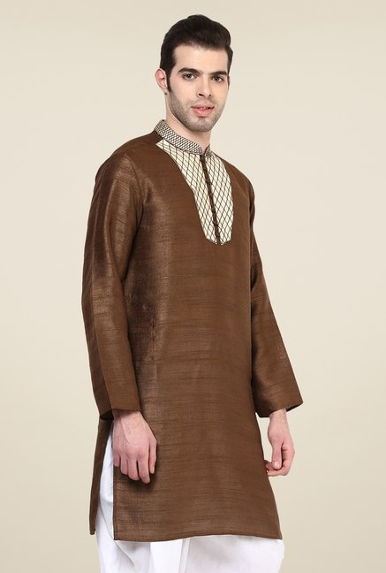 Yepme Brown Laster Solid Kurta