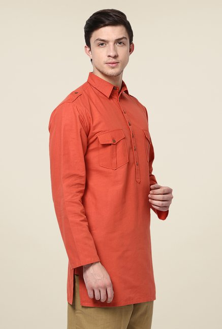 Yepme Red Bret Solid Cotton Kurta