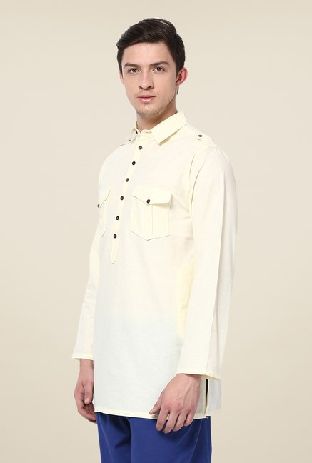 Yepme Yellow Bret Solid Cotton Kurta