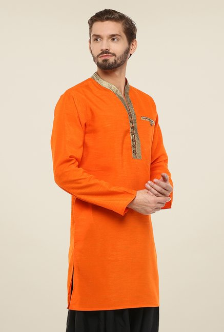 Yepme Orange Norris Solid Kurta