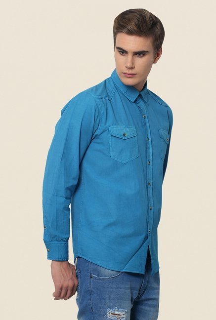 Yepme Blue Newman Pigment Overdyed Premium Cotton Shirt