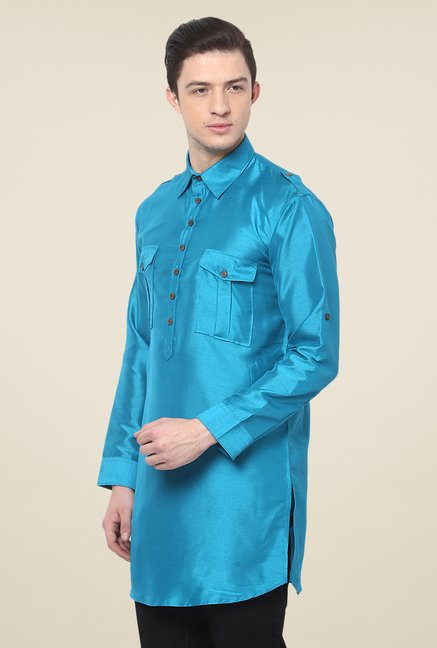 Yepme Blue Rodrick Solid Cotton Kurta