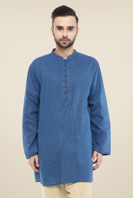 Yepme Blue Brad Striped Cotton Kurta