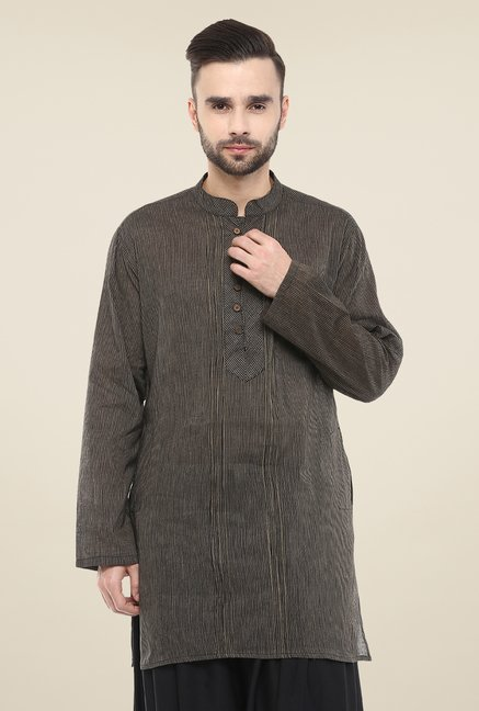 Yepme Black Brad Striped Cotton Kurta