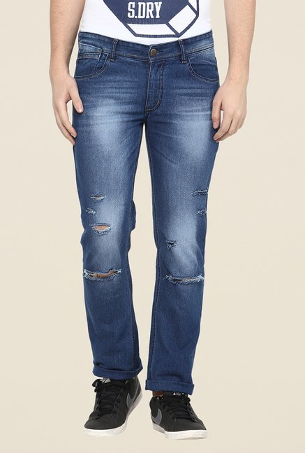 Yepme Blue Slim Fit Distressed Jeans