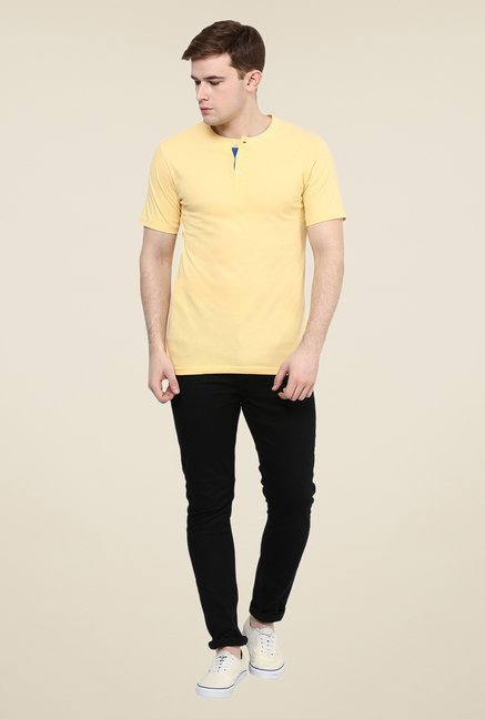 Yepme Yellow Solid Henley T Shirt