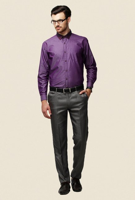 Yepme Purple Regular Fit Schaffer Premium Shirt