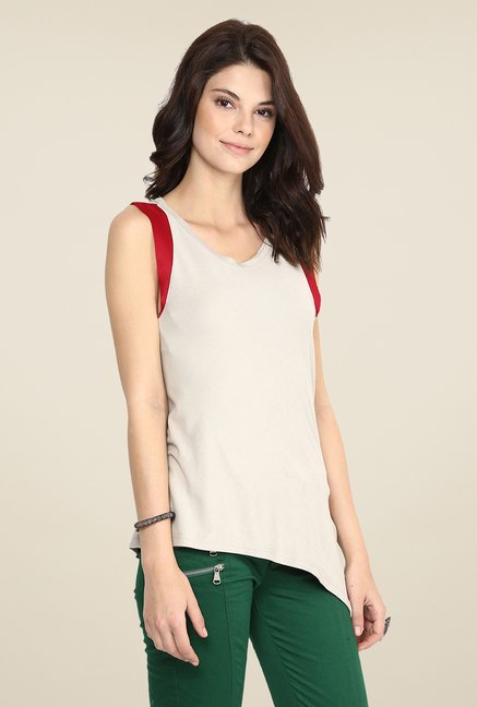 Yepme Blanca Beige & Red Top