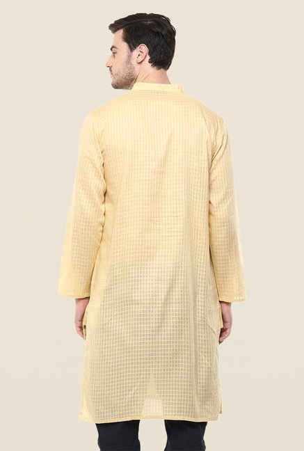 Yepme Beige Andrew Checks Cotton Kurta