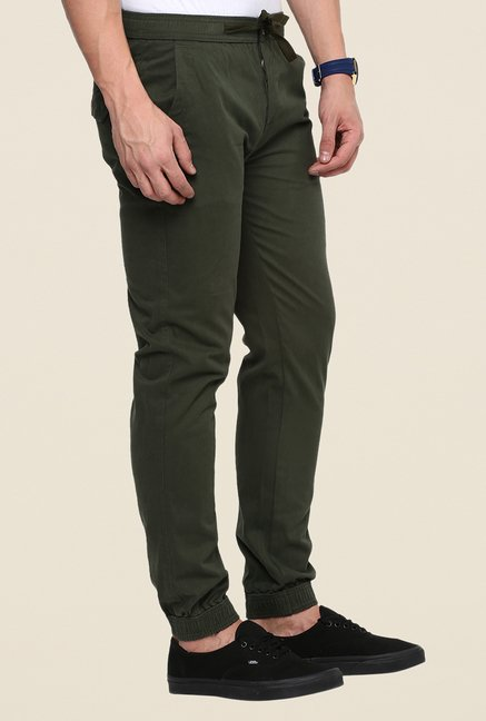 Yepme Olive Solid Joggers