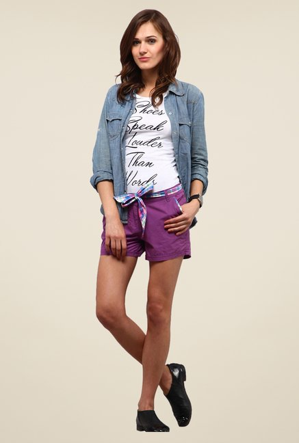 Yepme Silvia Purple Solid Shorts