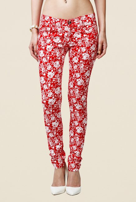Yepme Estella Red & White Floral Print Chinos