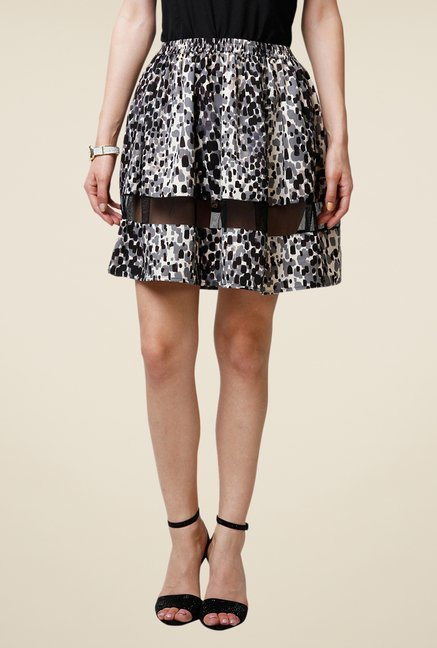 Yepme Arianny Black Printed Sheer Panel Skirt