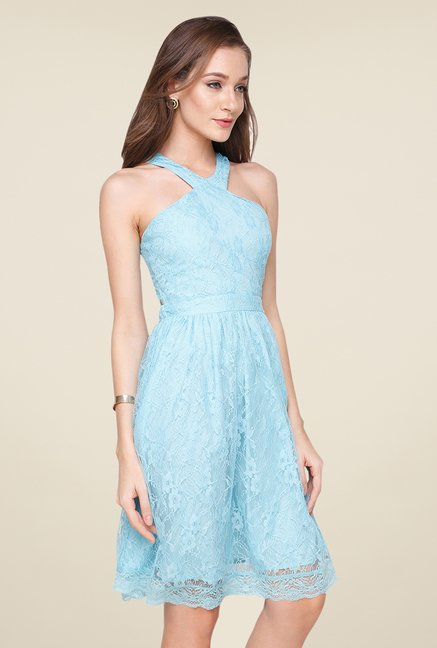 Yepme Sky Blue Kylie Lace Dress