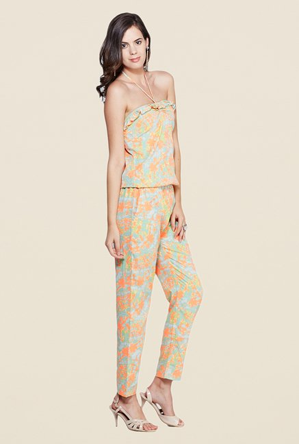 Yepme Elisha Orange & Green Printed Jumpsuit