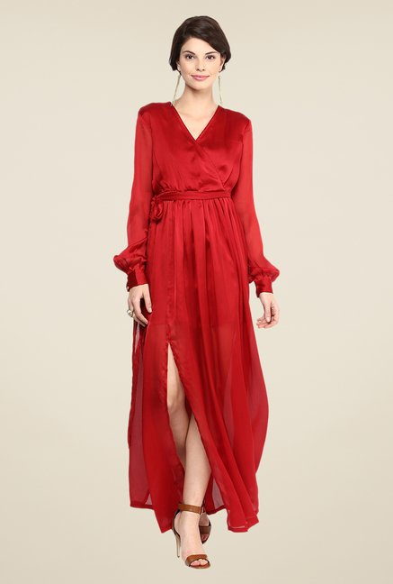 Yepme Red Wendy Solid Maxi Dress