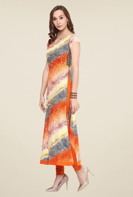 Yepme Orange Printed Premium Kurta