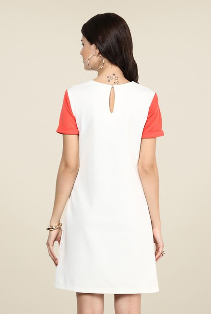 Yepme White Novella Solid A Line Dress