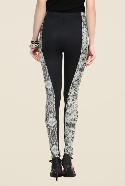Yepme Jackui Black & Grey Print Party Leggings