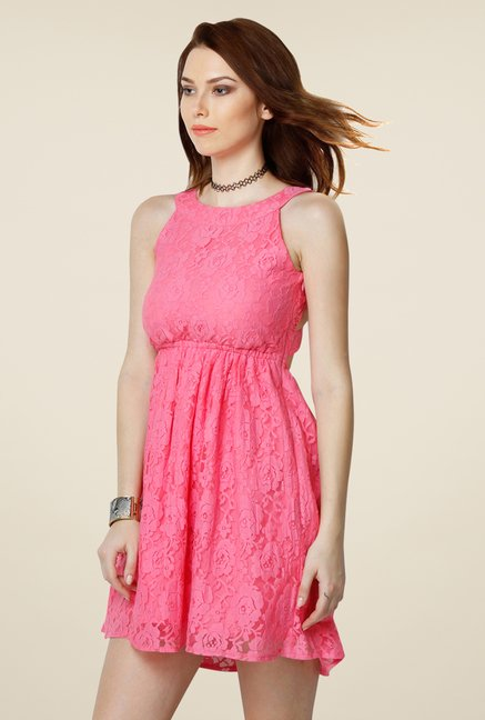 Yepme Pink Eliza Lace Dress