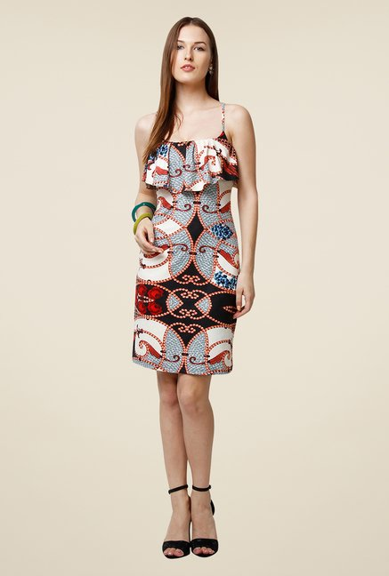Yepme Blue Tracy Flare Printed Dress
