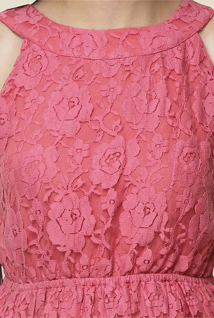 Yepme Pink Bow Eliza Lace Dress