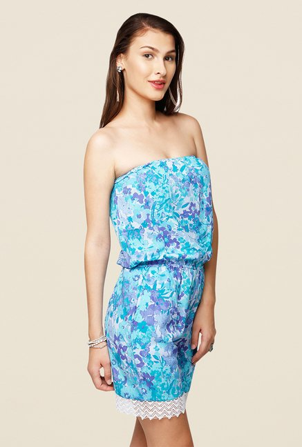 Yepme Avery Blue Floral Print Tube Jumpsuit