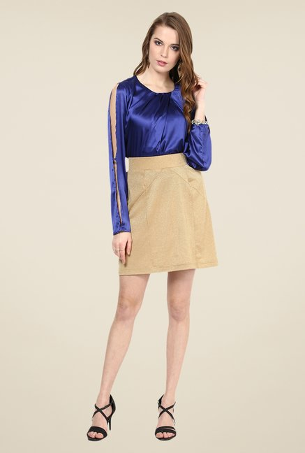 Yepme Sierra Gold Solid Party Skirt