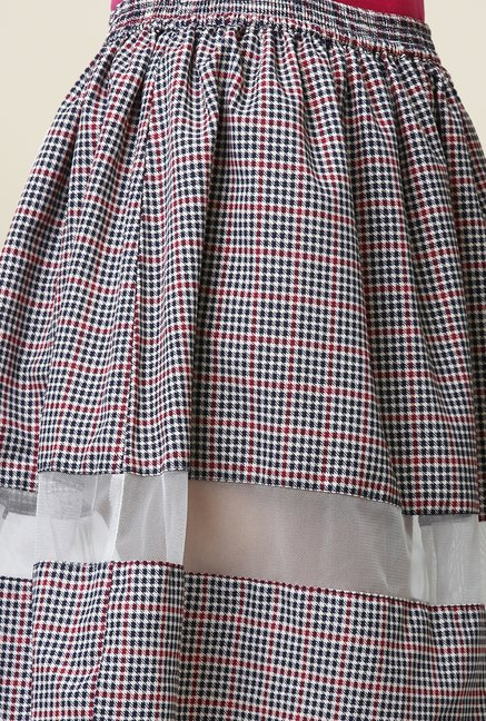 Yepme Arianny Black & Red Checked Sheer Panel Skirt