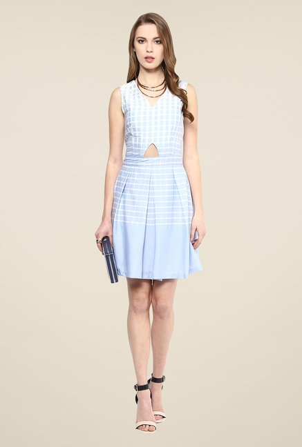 Yepme Blue Ebony Checks Dress
