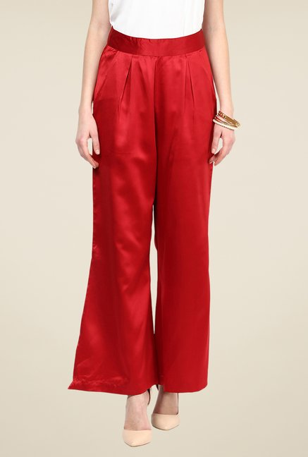 Yepme Adina Red Solid Party Palazzos