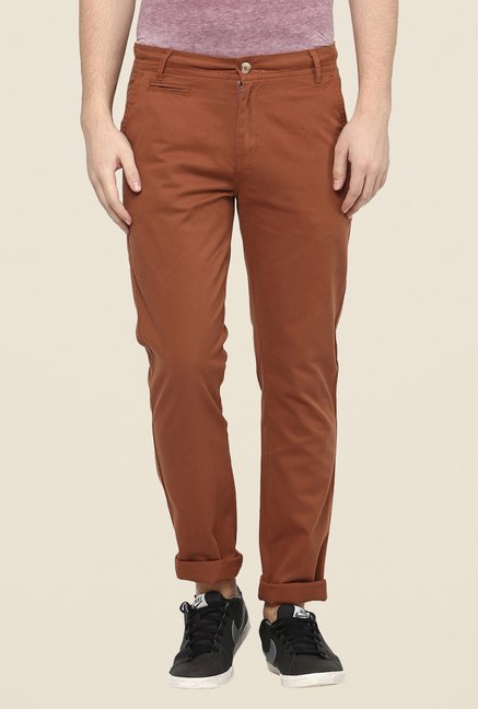 Yepme Brown Solid Chinos