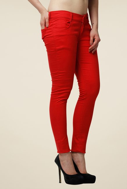 Yepme Clara Red Solid Chinos